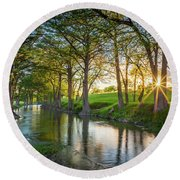 Guadalupe River Sunset Round Beach Towel