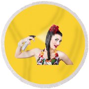 Haircare. Brunette Pinup Woman Using Hair Product Round Beach Towel