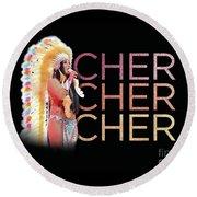 Half Breed Cher Round Beach Towel