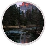 Half Dome Reflection Over Merced River At Sunset, Yosemite National Park  Round Beach Towel