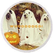 Halloween Hounds Round Beach Towel by ISAW Company