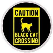 Halloween Shirt Caution Black Cat Crossing Gift Tee Round Beach Towel