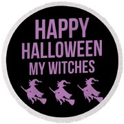 Halloween Shirt Happy Halloween Witches Gift Tee Round Beach Towel
