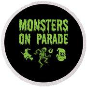 Halloween Shirt Monsters On Parade Green Gift Tee Round Beach Towel
