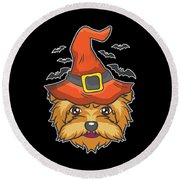 Halloween Shirt Witch Yorkshire Dog Costume Gift  Round Beach Towel