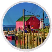 Halls Harbour Nova Scotia Round Beach Towel