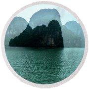 Halong Bay Mountains, Vietnam Round Beach Towel