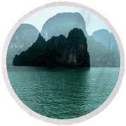 Halong Bay Mountains, Vietnam Round Beach Towel