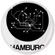 Hamburg Black Subway Map Round Beach Towel