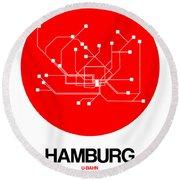 Hamburg Red Subway Map Round Beach Towel