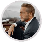 Hand Colored Picture Of Paul Newman Round Beach Towel