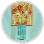 Indian Hand Painted Palace Wall Round Beach Towel