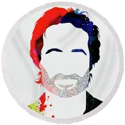 Hank Moody Watercolor Round Beach Towel
