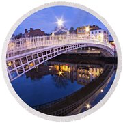 Ha'penny Bridge At Blue Hour Round Beach Towel by Barry O Carroll