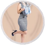 Happy Cleaning Woman Kicking Up Dirt And Grime Round Beach Towel