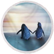 Happy Feet Round Beach Towel