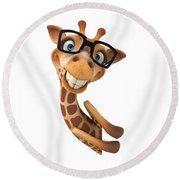 Happy Giraffe Round Beach Towel