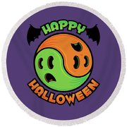 Happy Halloween Ghost Yin-yang Round Beach Towel