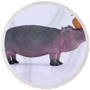 Happy Hippo And Pumpkin Round Beach Towel