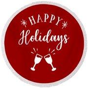 Happy Holidays Round Beach Towel
