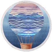 Happy Hot Air Balloon Watercolor Xxvi Round Beach Towel