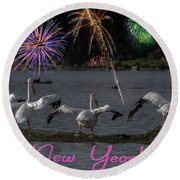 Happy New Year 2019 - Four Pelicans Round Beach Towel