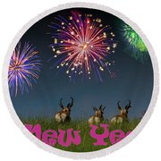 Happy New Year 2019 - Three Pronghorn Antelope Round Beach Towel