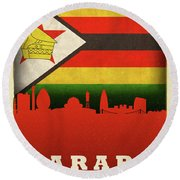 Harare Zimbabwe World City Flag Skyline Round Beach Towel