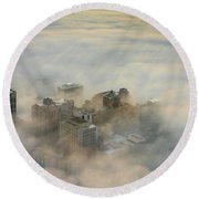 Harborview In The Clouds Round Beach Towel
