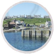 harbour at St. Abbs, Berwickshire Round Beach Towel
