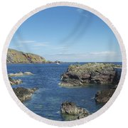 harbour entrance at St. Abbs, Berwickshire Round Beach Towel