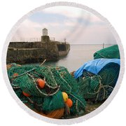 harbour pier and fishings nets at Pittenweem, Fife Round Beach Towel