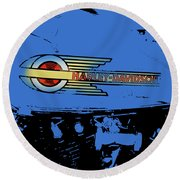 Harley Davidson Tank Logo Blue Artwork Round Beach Towel