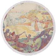 Harmonious Times By Signac Round Beach Towel