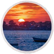 Harpswell Sunset Round Beach Towel
