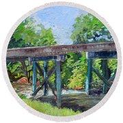 Harrison Park Bridge-ellijay River - Sun Peeking Under Round Beach Towel