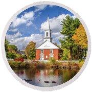 Harrisville, New Hampshire Church Round Beach Towel