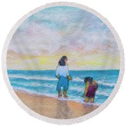 Hawaii Beach #492 Round Beach Towel