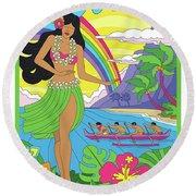 Hawaii Poster - Pop Art - Travel Round Beach Towel