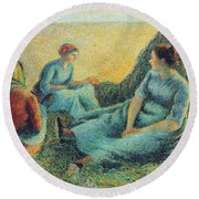 Haymakers Resting, 1891 Round Beach Towel