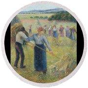 Haymaking At Eragny, 1891 Round Beach Towel