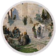 He That Is Without Sin, 1908 Round Beach Towel