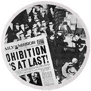 Headline Declaring The End Of Prohibition, 6th December, 1933 Round Beach Towel