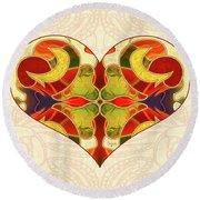 Heart Illustration - Creating Passionate Experience - Omaste Witkowski Round Beach Towel by Omaste Witkowski