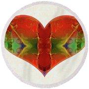 Heart Painting - Vibrant Dreams - Omaste Witkowski Round Beach Towel by Omaste Witkowski