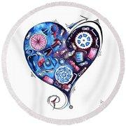 Heart Racing A Mad Shredder Biking Cycling Painting By Megan Duncanson Round Beach Towel