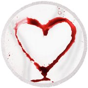 Heart Shape From Splaches And Blobs Round Beach Towel