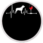 Heartbeat Ekg Pulse Rottweiler And Wine Lover Round Beach Towel