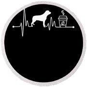 Heartbeat Ekg Pulse Rottweiler Coffee Lover Round Beach Towel