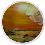 Heavenly Protection Round Beach Towel